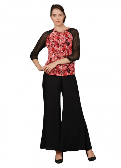 Pitara Red Floral Printed Women Top