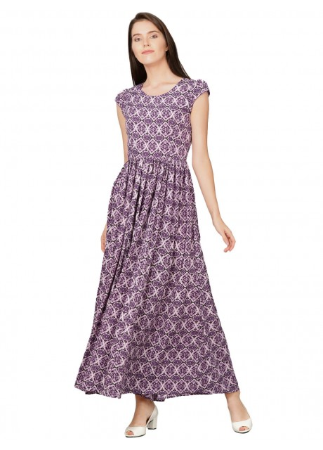 Pitara Purple Printed American Crepe Maxi Dress