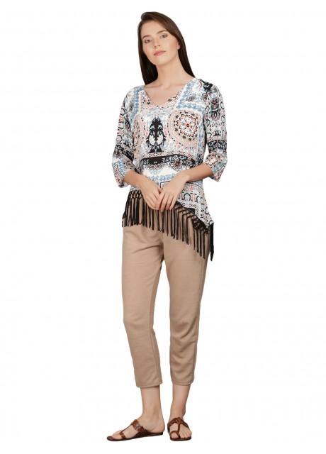 Pitara Prntd Rayon With Lace Women Top