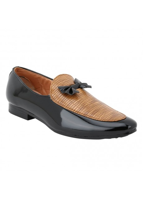 Voila Mens Glossy Black Leather Shiny wooden Patent Formal Shoes
