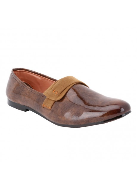 Voila Mens Glossy Brown Leather Shiny Patent Formal Shoes