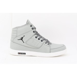 Voila Men's Grey high Ankle Sneakers Shoes ( 6 7 8 9 10) (Grey, white)