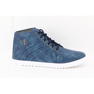 Voila Men's Navy Blue high Ankle Sneakers Shoes ( 6 7 8 9 10) (Navy blue & white)