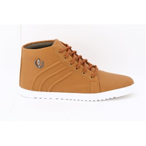 Voila Men's Tan high Ankle Sneakers Shoes ( 6 7 8 9 10) (Tan & white)