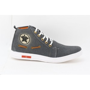 Voila Men's Grey denim Sneakers high Ankle Shoes ( 6 7 8 9 10) (grey & white)